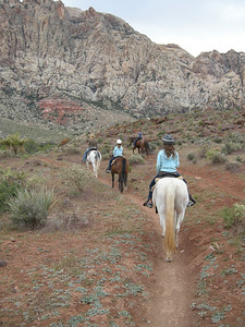 The girls enjoying horse riding in the Red Rocks