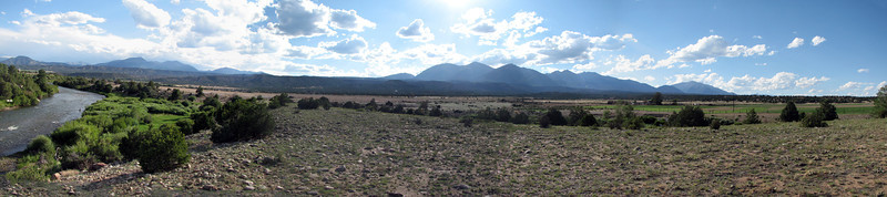 Panoramic view of the Collegiate Peaks of Colorado.  That's the Arkansas River on the left.