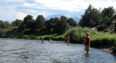 Fellow Waders in the Arkansas River... L-R Jeanine, Brent, Clay, Ginger, Stu...
