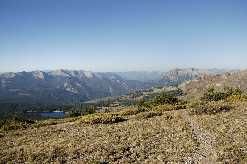 On the trail up to Scarp ridge ( Looking West ) ...Lake Irwin , Anthracite and Beckwith mountains