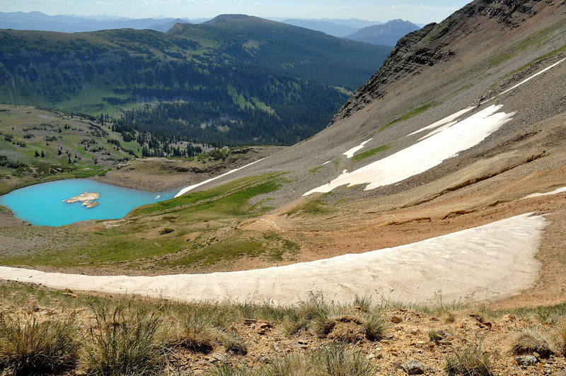 From the upper trail to the saddle ( one hilker on the snow)