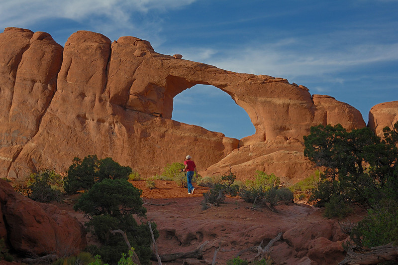 Geologist at Skyline Arch ( Moab ,Utah )