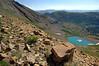 On the trail to the saddle , Scarp Ridge and Green Lake