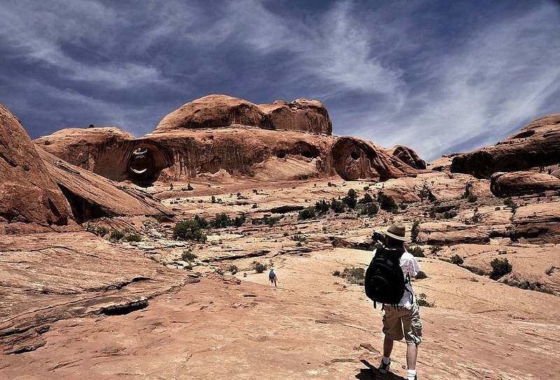 Here i am taking a picture of Bowtie Arch ( Corona arch can be seen on the right , Moab, Utah )