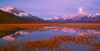 Canada, Yukon, Alaska Highway, Kluane Lake, Moonset, Dawn, Reflection, Destruction Bay , Fall Colors, 加拿大, 育空, 阿拉斯加高速公路, 秋色