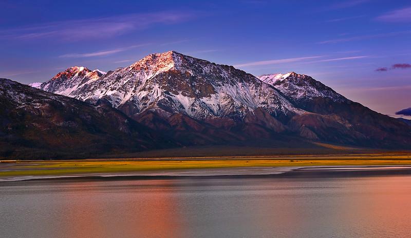 Canada, Yukon, Alaska Highway, Kluane Lake, Sunrise,  Destruction Bay , Fall Colors, 加拿大, 育空, 阿拉斯加高速公路, 秋色