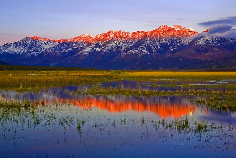 Canada, Yukon, Alaska Highway, Kluane Lake, Sunrise, Reflection, Destruction Bay , Fall Colors, 加拿大, 育空, 阿拉斯加高速公路, 秋色