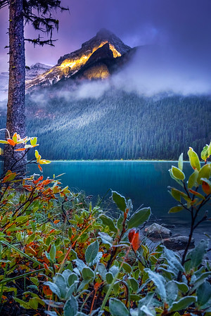 Magical Light Dashing Across The Peaks In Autumn Rockies - Lake Louise, Banff National Park, Alberta, Canada