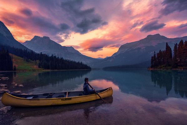 Heading Out Into Emerald Lake At Sunset - Emerald Lake, Yoho National Park, BC, Canada
