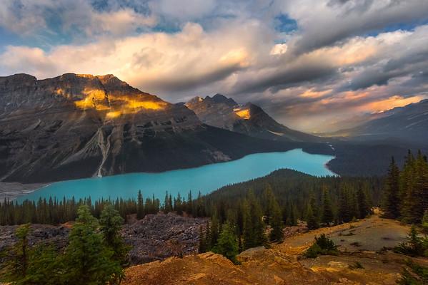 Peyto Lake Late Light - Peyto Lake, Icefields Parkway, Alberta, Canada