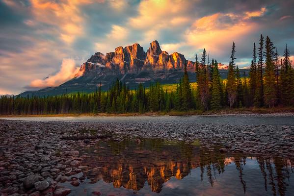 Castle Rock Sunset Reflections Castle Rock, Banff National Park, Alberta, Canada