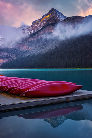 Magic Light Early Morning In The Rockies - Lake Louise, Banff National Park, Alberta, Canada