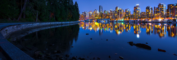 Vancouver Seawall And City Skyline At Night_Pano - Stanley Park Seawall, Vancouver, BC, Canada