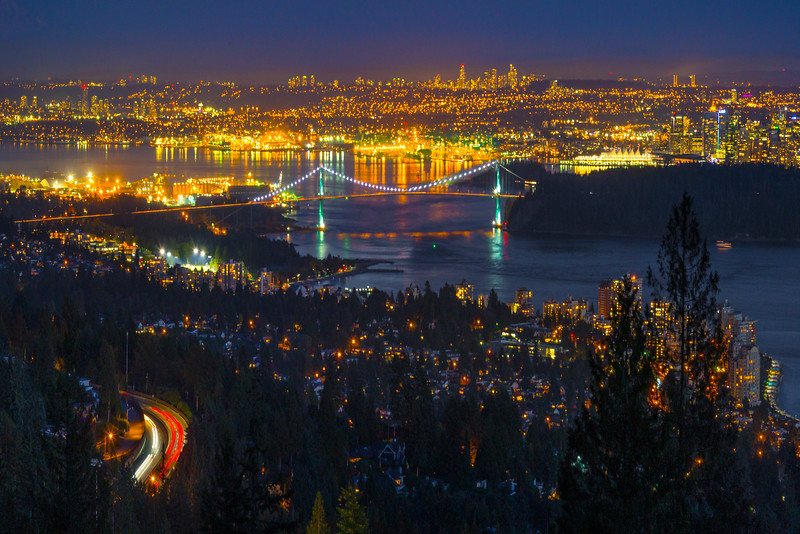 Vancouver Lit At Night From Cypress Mountain - Vancouver City Skyline, North Shore, BC, Canada