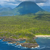 Backdrop Of Mountains Along Coastline Clayoquot Sound ,Tofino, and Ucluelet By Air,  Vancouver Island, BC, Canada