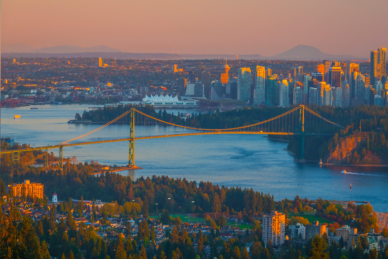 The Vancouver City From High On The North Shore - Vancouver City Skyline, North Shore, BC, Canada