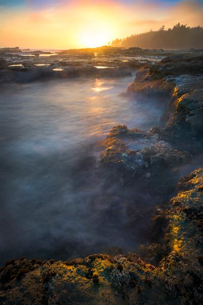 Cascade Pools At Sunset At Botany Bay - Botany Bay, Juan De Fuca Trail,  Vancouver Island, BC, Canada