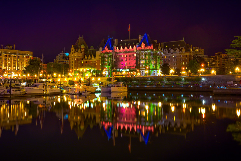 The Empress Hotel At Night With Lights - Victoria Harbor, Vancouver Island, BC, Canada