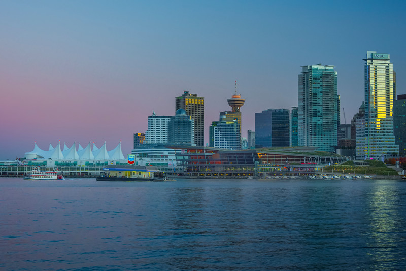 Twilight Pinks Over Vancouver Harbour - Stanley Park Seawall, Vancouver, BC, Canada