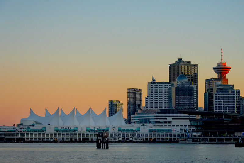 Canada Place At Sunset - Stanley Park Seawall, Vancouver, BC, Canada
