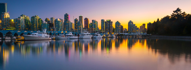 Coal Harbour At Twilight Dusk_Pano - Stanley Park Seawall, Vancouver, BC, Canada