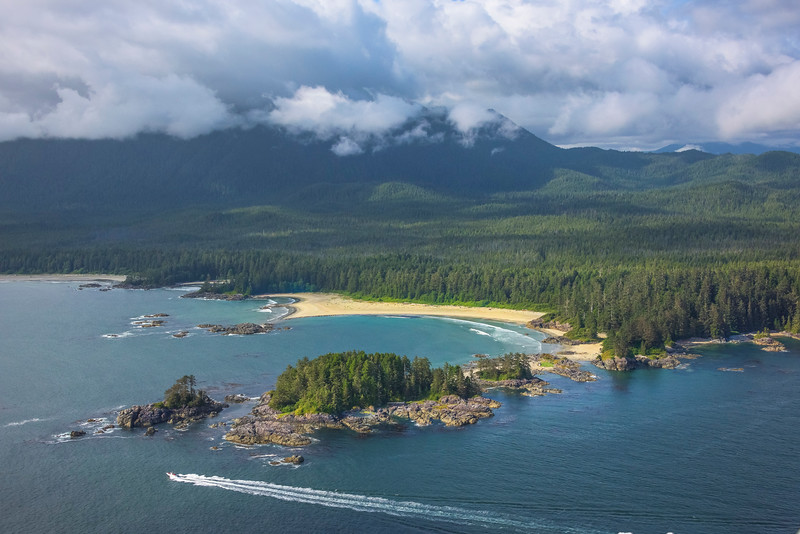 Summer Boating Along The Islands Clayoquot Sound ,Tofino, and Ucluelet By Air,  Vancouver Island, BC, Canada