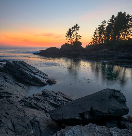 Sunset Reds In Island Inlet - Botany Bay, Juan De Fuca Trail,  Vancouver Island, BC, Canada