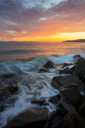 Ambleside Blazing Sunset Seawall - West Vancouver, British Columbia