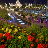 The Parliament Buildings At Night And Gardens - Victoria Harbor, Vancouver Island, BC, Canada
