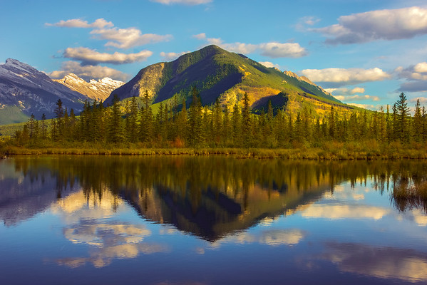Rocky Mountain Reflections In Vermillion Lakes - Vermillion Lakes, Banff National Park, AB, Canada