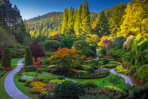 Butchart Gardens From Above - Butchart Gardens, Victoria, Vancouver Island, BC, Canada