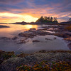 Sun Setting On Frank Island And Chesterman Beach Chesterman Beach, Tofino,  Vancouver Island, BC, Canada