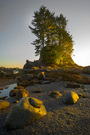 The Last Of Side Light On Island Rock - Botany Bay, Juan De Fuca Trail,  Vancouver Island, BC, Canada