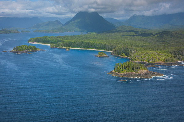 A Wide Perspective Of The Islands Clayoquot Sound ,Tofino, and Ucluelet By Air,  Vancouver Island, BC, Canada