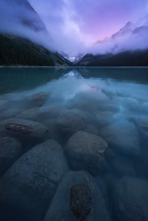 Lake Louise Pink Twilight - Lake Louise, Banff National Park, Alberta, Canada
