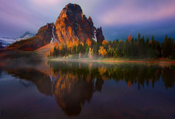 Spotlight At The Base Of The Peak - Mount Assiniboine Provincial Park, BC, Canada