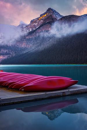 Magic Light Early Morning In The Rockies - Lake Louise, Banff National Park, Alberta, Canada