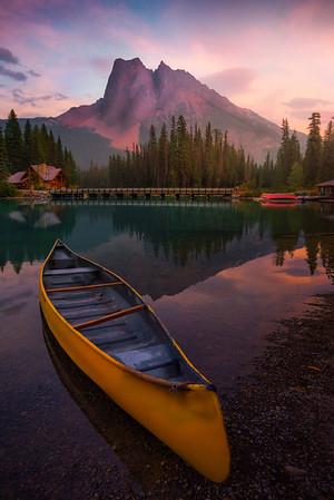 Lake Emerald And Canoe Sunset - Emerald Lake, Yoho National Park, BC, Canada