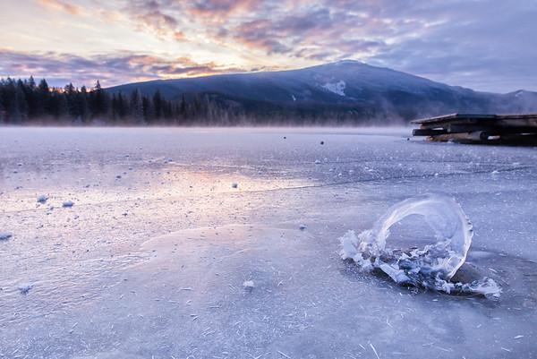 Ice Spiral Sunrise on Lake Edith, Jasper National Park