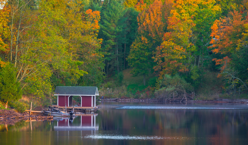 The Boathouse In Autumn - Algonquin Provincial Park, Nipissing, South Part, Ontario, Canada