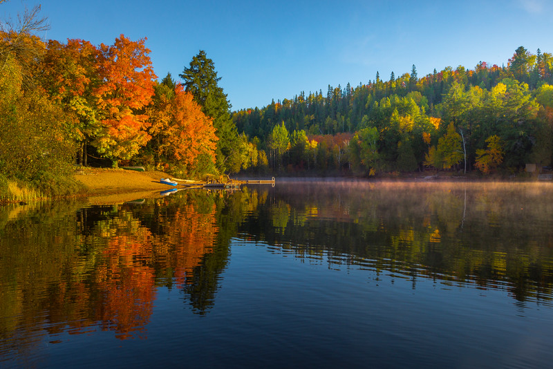 Morning Mist And Reflections - Algonquin Provincial Park, Nipissing, South Part, Ontario, Canada