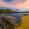 Canoe Moments Under The Pink Sky - Algonquin Provincial Park, Nipissing, South Part, Ontario, Canada