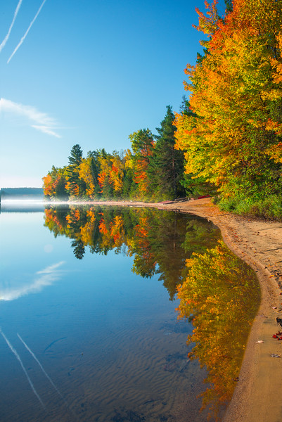 Reflections Following The Shoreline - Algonquin Provincial Park, Nipissing, South Part, Ontario, Canada