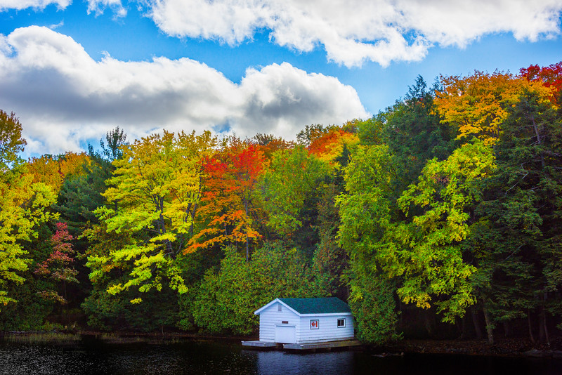 A Boat Cabin Tucked Away In Autumn Colors