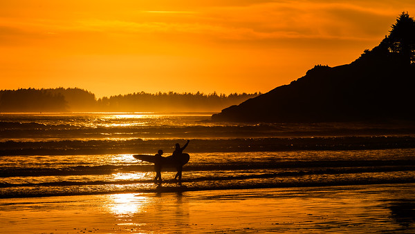Sunset boards at Tofino