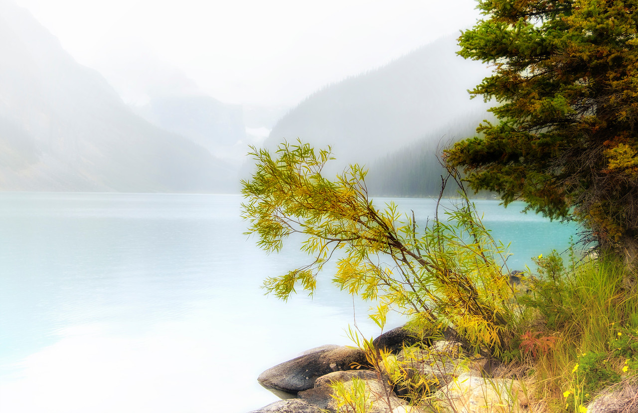 By the Shore of Lake Louise