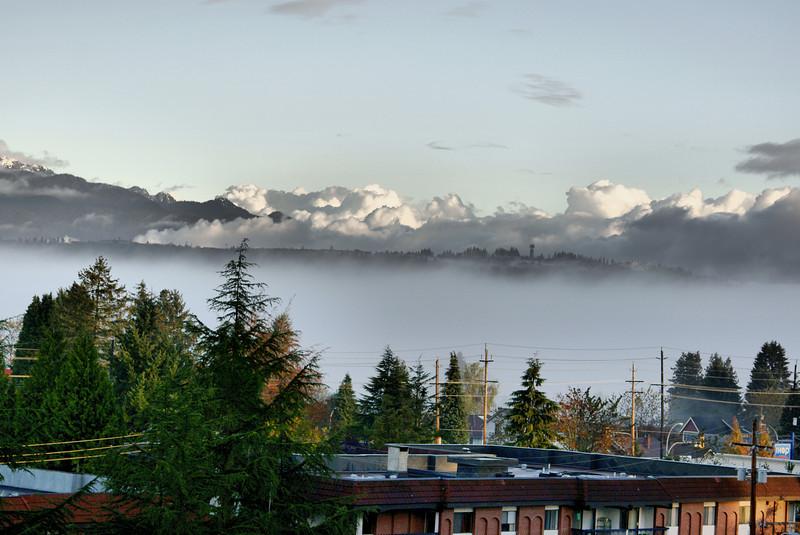 Foggy sunrise HDR.