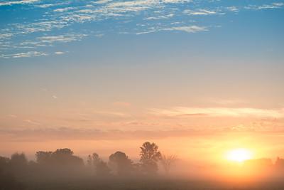 Foggy morning sunrise in Rigaud