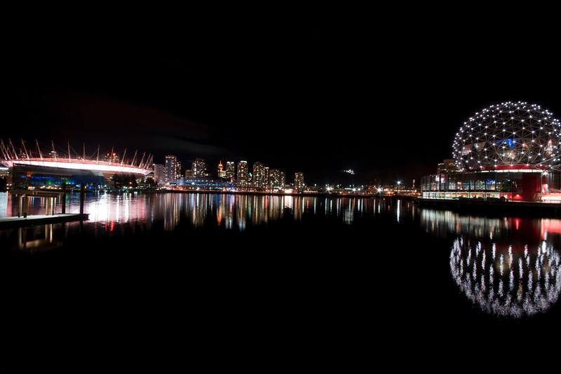 Vancouver False Creek at night.