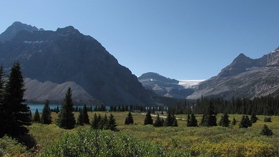 Bow Lake with Bow Glacier in the background. Photo taken from Highway 93, The Icefields Parkway.